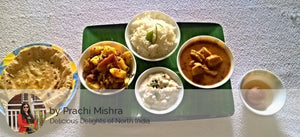 Besan Gatta curry, Aloo Gobhi gajar matar sabji, Rice, Veg Raita, Roti and Gulab Jamun -  - Homely - By Prachi Mishra
