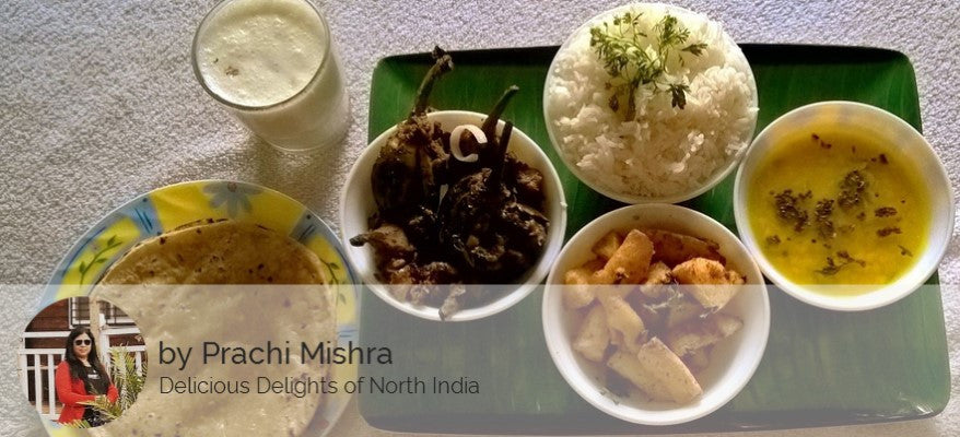 Alu Fry, Baingan Masala, Dal, Rice, Raita/Chaas, Rotis(3) with Sweet Surprise -  - Homely - By Prachi Mishra