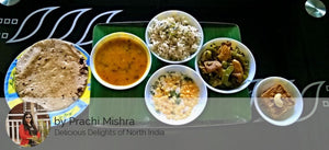 Aloo Shimla Mirch Ki Sabji, Dal, Jeera Rice, Butter Roti, Raita and Dessert. -  - Homely - By Prachi Mishra