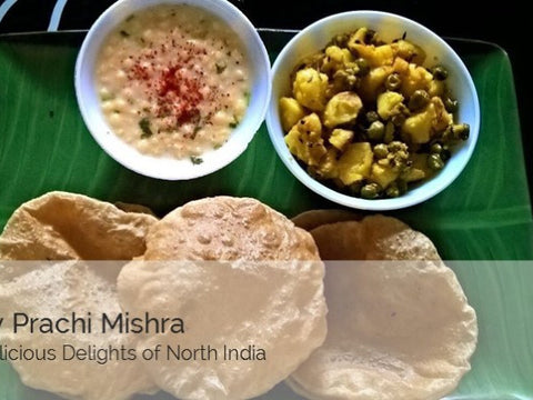 Aloo Ki Sabji, Puri(6 nos) and RaitaFruit Custard -  - Homely - By Prachi Mishra