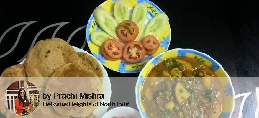 Aloo Matar Sabji, Salad Raita, Puri (6) with Gulab Jamun -  - Homely - By Prachi Mishra