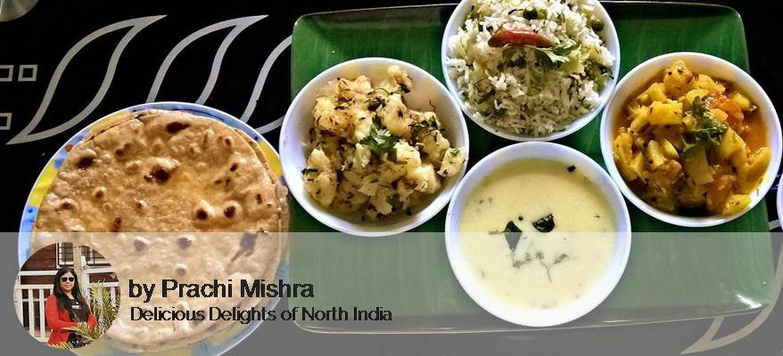 Aloo Sabji, Raw Papaya sabji, Jeera Rice, and Roti kadhi -  - Homely - By Prachi Mishra