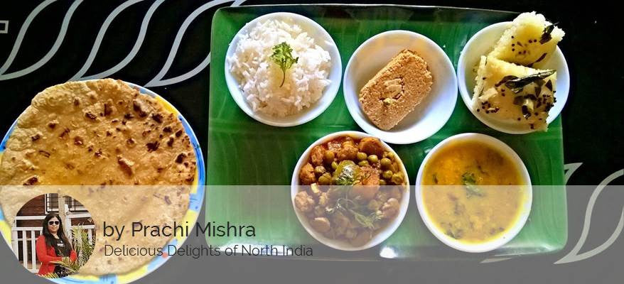 Aloo Matar Soya Chunks Masala, Butter Roti, Dal, Steamed Rice, Rawa Dhokla (2 Pcs) & Surprise Dessert -  - Homely - By Prachi Mishra