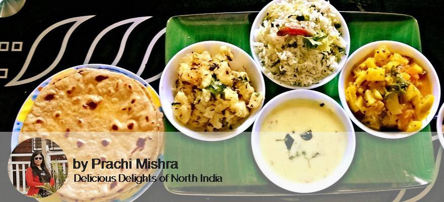 Aloo ki Sabzi, Lauki Tamatar Sabzi, Kadhi / Dal, Rice, Raita, Roti and Pickle -  - Homely - By Prachi Mishra