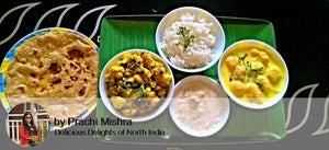 Aloo Matter Sabji, Kadhi, Rice, Ghee Roti, with Dessert -  - Homely - By Prachi Mishra