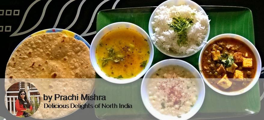 Mattar Paneer, Dal, Rice, Raita, Roti with Papad and Pickle -  - Homely - By Prachi Mishra