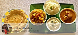 Besan Gatta Curry, Aloo Sabzi,Steamed Rice, Raita, Roti and Fruit Custard -  - Homely - By Prachi Mishra