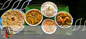 Matar Paneer sabzi, Mix Dal Fr, Steamed Rice, Raita, Roti with Dessert -Fruit Custard -  - Homely - By Prachi Mishra