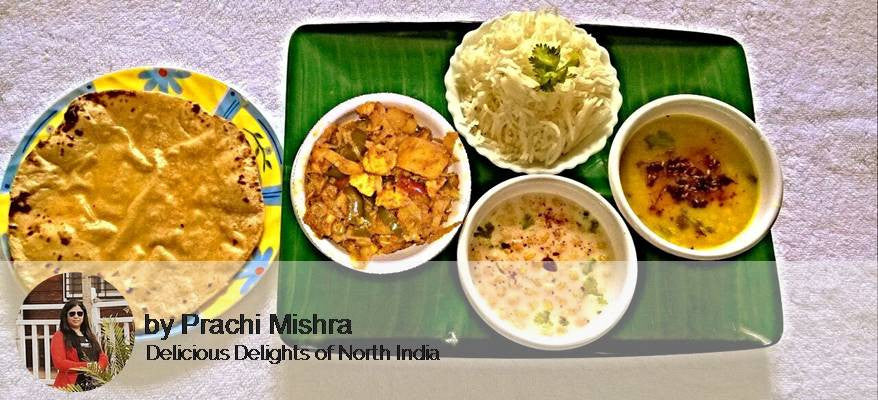 Alu, cabbage capsicum, Paneer Sabzi, Dal Tadka, Rice, Raita, Roti with Surprise dessert. -  - Homely - By Prachi Mishra