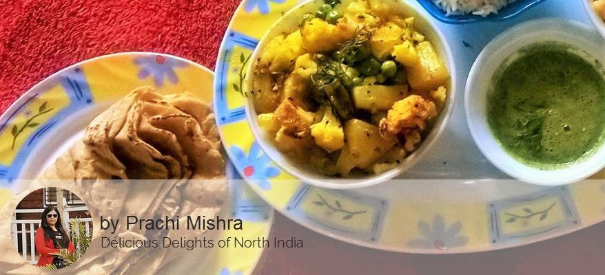 Aloo Matar Tamater Gravy, Butter Roti/Parathas(4) with Spicy Green Mango Chutney and Surprise Dessert -  - Homely - By Prachi Mishra