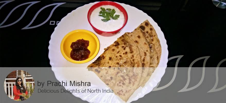 Aloo Pyaz Paneer Masala Stuffed Paratha With , Curd and Pickle -  - Homely - By Prachi Mishra