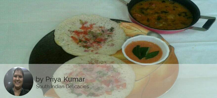 Uthappam, Tiffin Sambar and Onion Tomato Chutney. -  - Homely - By Priya Ashok Kumar