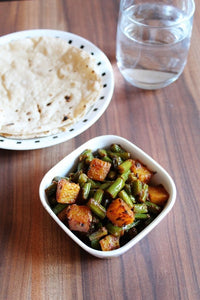 Green Beans with Potato Sabji, 3 Chapatis, Dal, Rice, Salad, Dessert