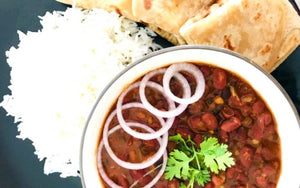 Rajma Masala with Roti, Dal, Rice, Salad & Dessert