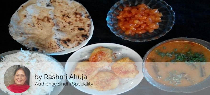 Sindhi Curry Basenwali,  Aloo Tuk, Steamed Rice,  Ghee Rotis (4),  Sweet Boondi -  - Homely - By Rashmi Ahuja - 1