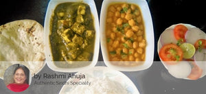 Palak Panner, Channa Masala, Steamed Rice, Ghee Rotis(4), Onion & Tomoto Salad -  - Homely - By Rashmi Ahuja - 2