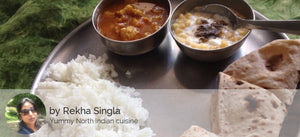 Aloo soyabean ki rasedar sabji with rice roti and boondi ka raita -  - Homely - By Rekha Singla - 1