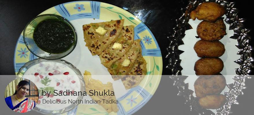 Aloo Matar Paratha, Green Chutney, Veg Raita, Fried Papad & a Sweet Surprise -  - Homely - By Sadhana Shukla