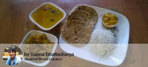 Mixed Bhaji, Dal Tadka, Pudina Lachcha Paratha (3), Rice, Chocolate Mango Pudding -  - Homely - By Sapna Bhattacharya
