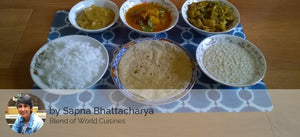 Aloo Paneer, Mixed Bhaji, Boondi Raita, Rotis(4), Rice, With Besan Halwa -  - Homely - By Sapna Bhattacharya