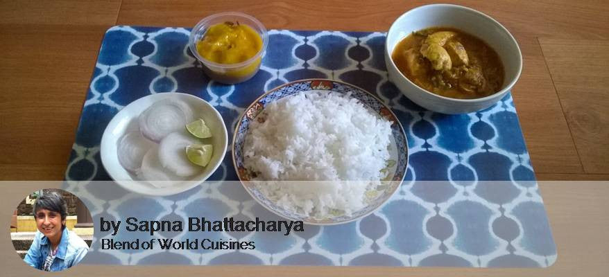 Chicken in Spring Onion, Rice, Onion Salad, Chocolate Mango Pudding -  - Homely - By Sapna Bhattacharya