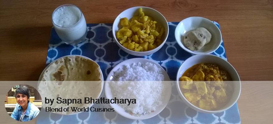 Tawa Paneer Masala, Aloo Gobi, Roti(4), Rice, Masala Chaas, Chocolate Chip Cookie -  - Homely - By Sapna Bhattacharya