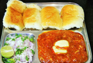 Pav Bhaji with Papad, Salad, Sweet