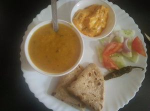 Shahi Paneer, Chapati (3), Chana Dal with Dudhi, Steamed Rice, Salad, Pickle & Surprise Sweet