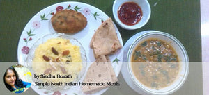 Aloo Palak pattice, Sprouted moong gravy, Ghee chapatis with Meetha Chawal -  - Homely - By Sindhu Brarath - 1