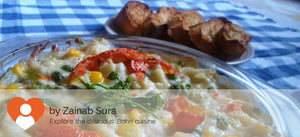 Baked veg with pasta & cheese alongwith Garlic bread -  - Homely - By Zainab Sura - 1