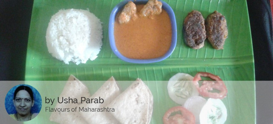 Surmai Fish Curry, Fish Fry (1 pc), Rice, Chapati (3) and Salad -  - Homely - By Usha Parab