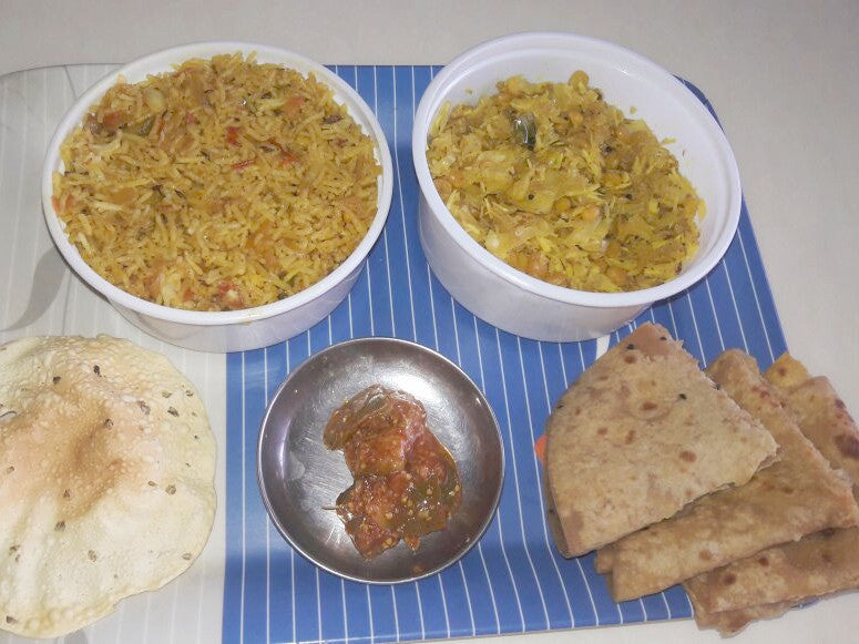 Cabbage Subzi, Plain Paratha/Roti, Pulao, Pickle, Papad & Surprise Sweet -  - Homely - By Anju Singh