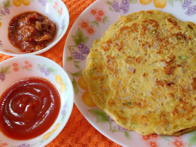 Besan Cheela, Onion Slices, Pickle and Tomato Ketchup -  - Homely - By Nidhi P. - 1