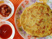 Besan Cheela, Onion Slices, Pickle and Tomato Ketchup -  - Homely - By Nidhi P. - 2