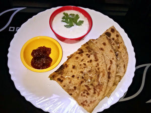 Aloo Paratha with Curd, Papad and Pickle -  - Homely - By Prachi Mishra