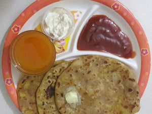 Aloo Paratha (3) with Curd, Ketchup & Tang Orange Juice -  - Homely - By Anju Singh