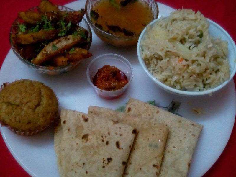 Til Wale Aloo, Chapattis, Dal, Rice, Salad and Choc Chip Muffin -  - Homely - By Meghana Desai