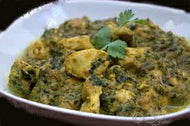 Chicken Samudra methi with dal, rice, salad and roti