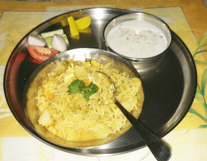 Dal Khichdi, Raita and Pickle