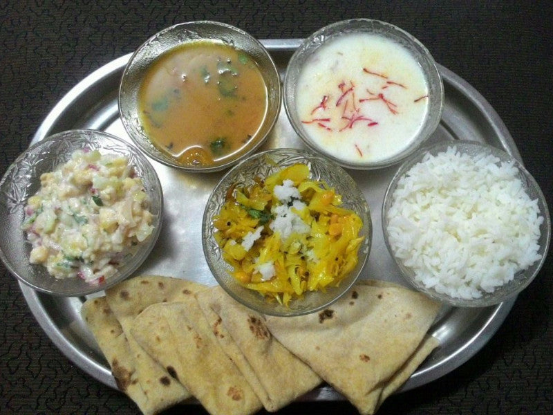 Cabbage Sabji, Gujrati Dal, Rice, Salad and Rice Kheer