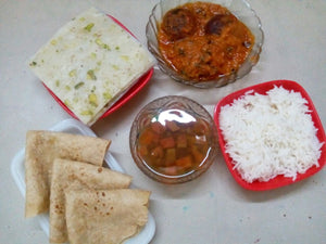 Malai Kofta Curry with Chapattis, Jeera Rice with whole Masoor Saar & Dessert with Masala Chaas