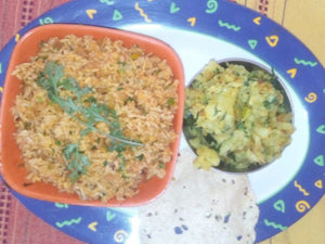 Tawa Pulav with Raita & Papad