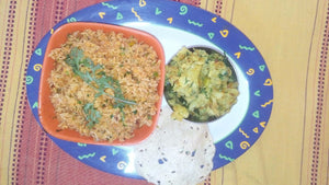 Masala Rice with Potato Sabji & Papad