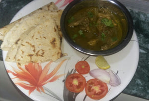 Mutton masala with Chapati or Bhkhri, Rice & Salad