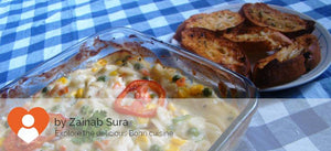 Baked chicken with veggies, pasta & cheese alongwith Garlic bread (Non Veg) -  - Homely - By Zainab Sura - 2