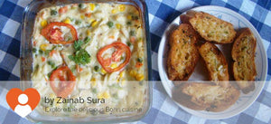 Baked chicken with veggies, pasta & cheese alongwith Garlic bread (Non Veg) -  - Homely - By Zainab Sura - 1