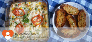 Baked chicken with veggies, pasta & cheese alongwith Garlic bread (Non Veg) -  - Homely - By Zainab Sura - 4