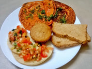 Veg Mini Tomato Omelets(2) with Multigrain Slice Bread, Bruschetta and Eggless Muffin -  - Homely - By Meghana Desai