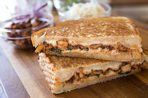(Non Veg) Grilled Brown Bread Chicken Cheese and Corn Sandwich with Apple Shake