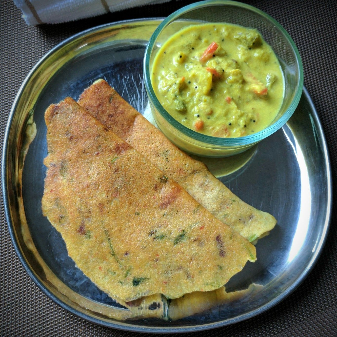 Adai with Aviyal and with Coconut Chutney